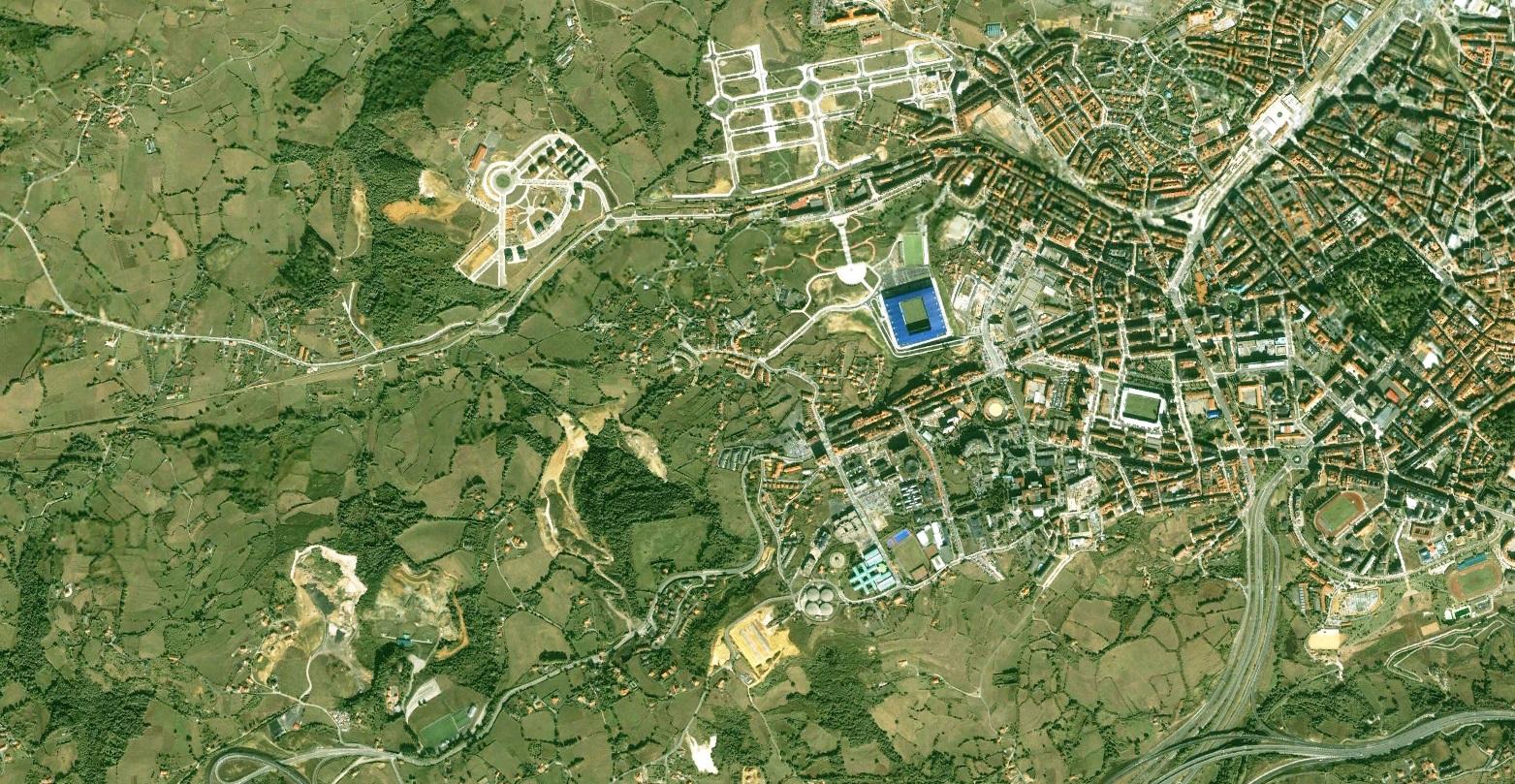 antes, urbanismo, foto aérea, desastre, urbanístico, planeamiento, urbano, construcción,Oviedo, Asturias, Uvieu, Asturies, Paniceres