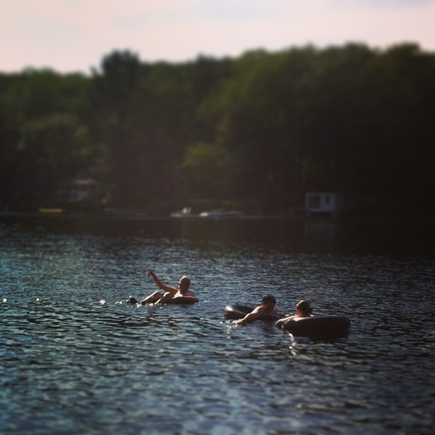 the kids got Papa to go for a swim #summer #sheepscotpond