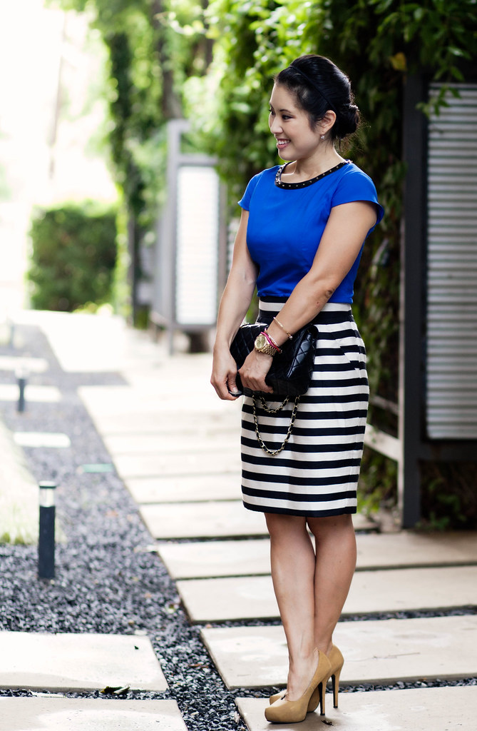 cobalt, mustard, stripes -- express studded peplum top, banana republic black white striped skirt, mustard pumps