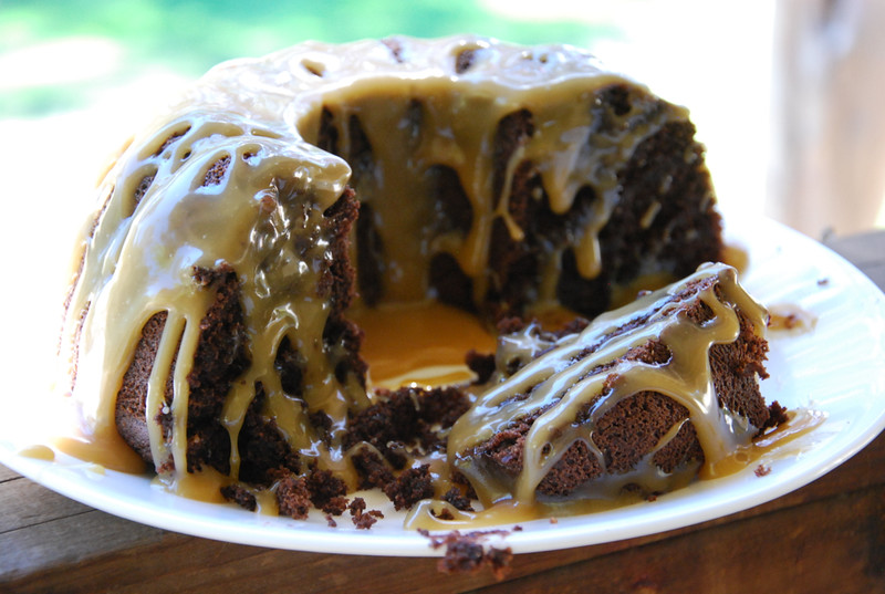 Chocolate Bundt Cake with Caramel Glaze (Gluten/Grain/Dairy-Free)