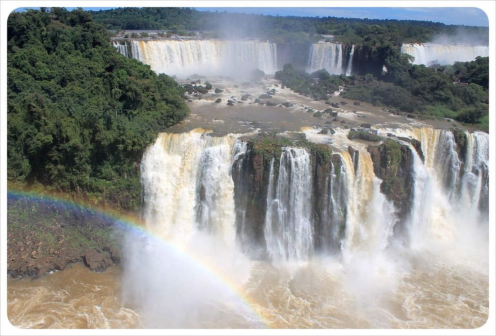 brazil iguazu falls with rainbow
