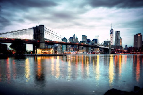 nyc newyorkcity longexposure cloud reflection skyline brooklyn sunrise geotagged mirror downtown cityscape manhattan dumbo carousel calm financialdistrict southstreetseaport brooklynbridge eastriver gothamist hdr brooklynbridgepark mudpig stevekelley