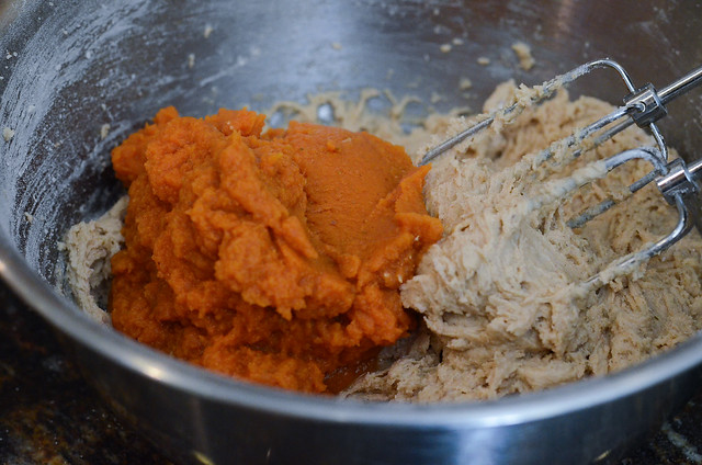Pumpkin puree is added to the batter.