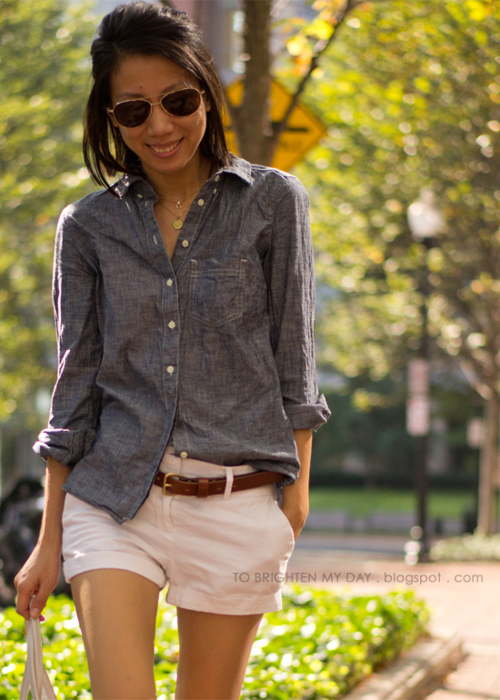 chambray shirt, white shorts