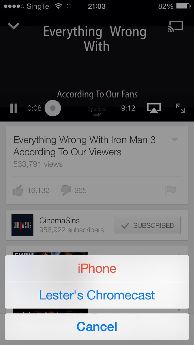 Google Chromecast - YouTube iOS App