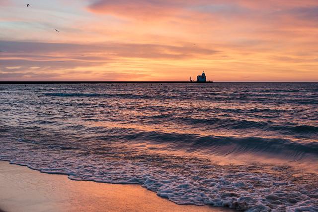 Lake Michigan, Lighthouse, Waves, Shore, Beach, Sunrise