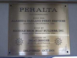 Builder's Plate on Passenger Ferry Peralta, San Francisco Bay, California USA