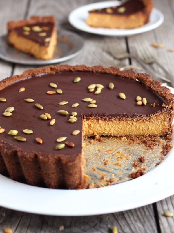 Chocolate Pumpkin Tart with Gingersnap Crust
