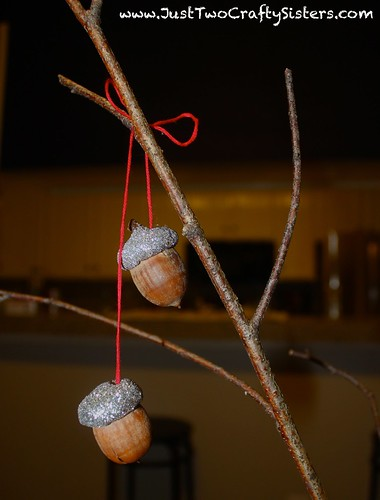 Making glitter acorns for the holidays