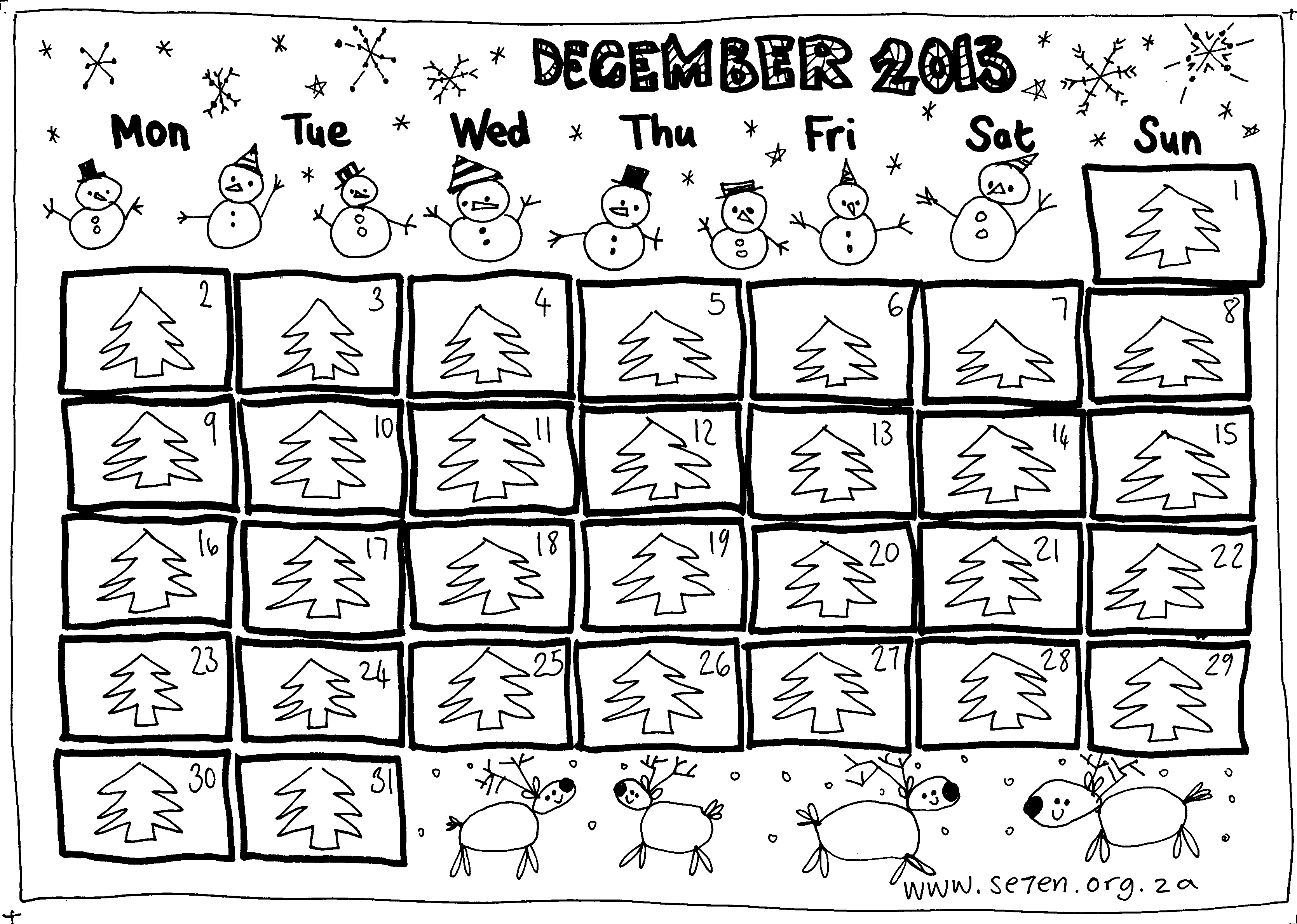 image relating to Advent Calendar Printable referred to as Se7ens December And a Cost-free Printable Introduction Calendar. se7en