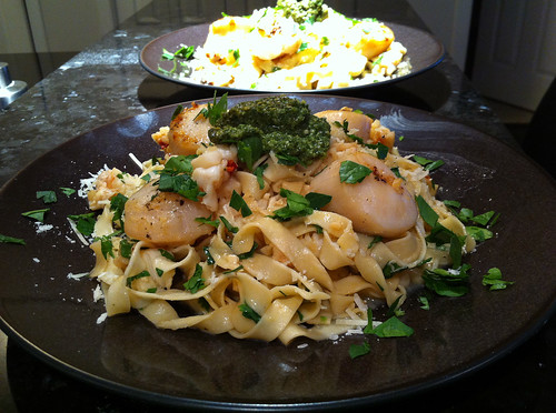 Lobster and scallop pasta with saffron tagliatelle