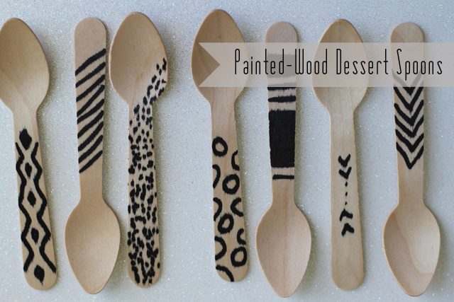 DIY Hand-painted wooden dessert spoons