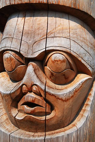 Totem Pole in Bella Coola, Bella Coola Valley, Coast of Central British Columbia