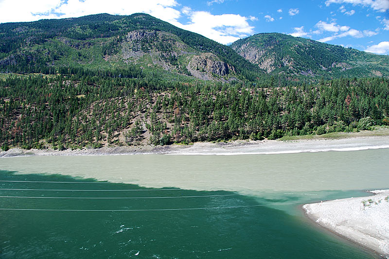 Confluence of the Thompson and Fraser Rivers in the town of Lytton, British Columbia