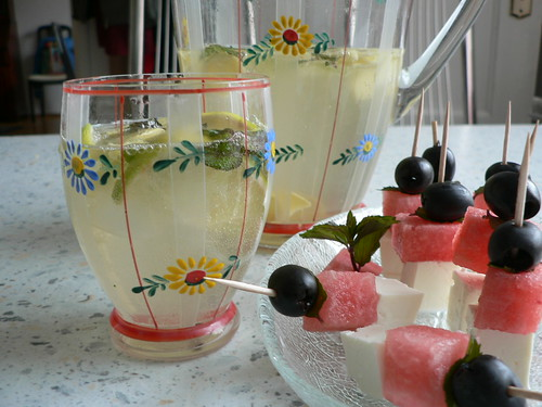 Elderflower ginger bliss and Melon & feta skewers Blog Party #13