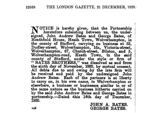 Notice from the London gazette dates 1921
