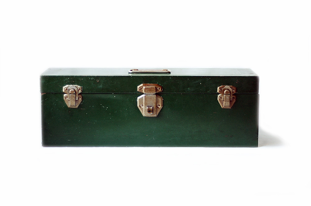 Vintage Green Union Metal Toolbox