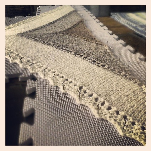 Shetland triangle blocking. #shawl #FO #handspun #handknit #natural