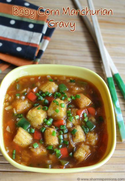 Baby Corn Manchurian Gravy Recipe Side Dish For Fried Rice