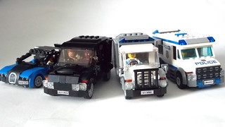 LEGO Minifigure scale Car - 7-wide SUV - seats 7 minifigs - Comparison pic