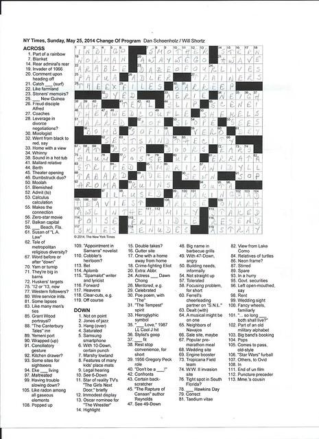 NYT Sunday Puzzle - May 25, 2014