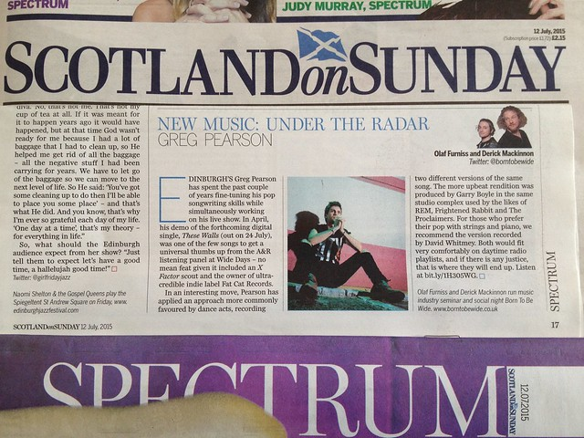 Olaf Furniss and Derick Mackinnon Scotland On Sunday, Spectrum Magazine 12 July 2015, Greg Pearson