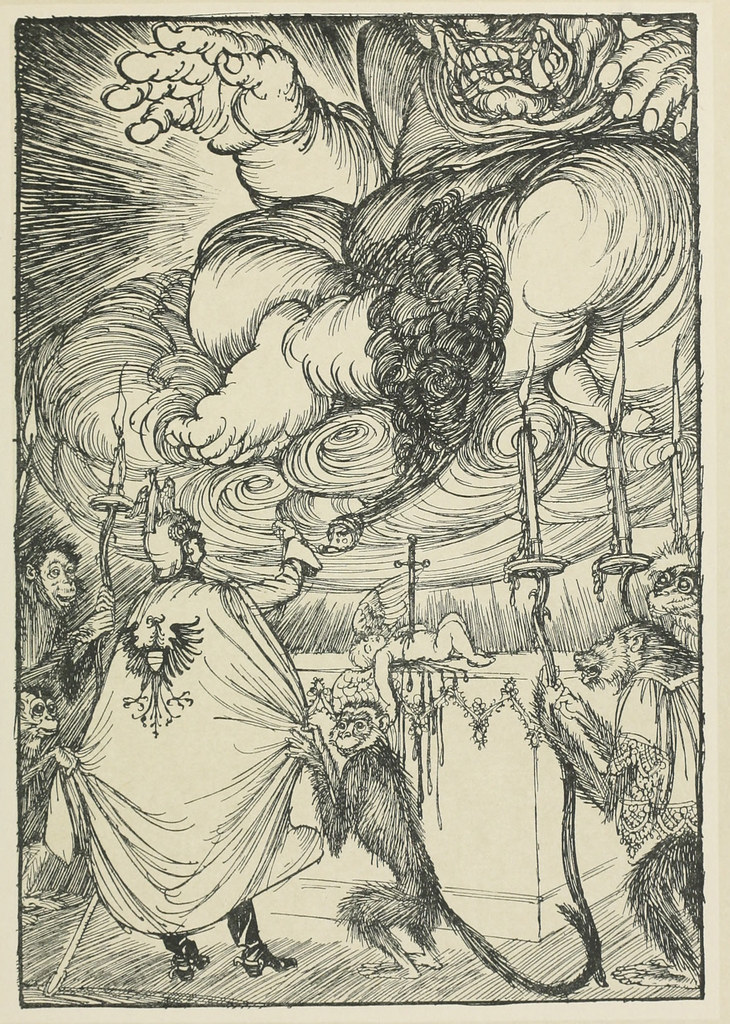 "Edmund Joseph Sullivan - The Black Mass. No. 2, Sacrifice to Moloch. Illustration from ""The Kaiser's Garland, 1915"