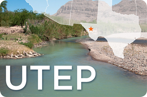 UTEP text and the state of Texas layered onto an image of a river