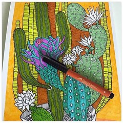 My hand-drawn printable Cactus Corner colouring page is now available at Etsy: http://etsy.me/2n5UoYq or link in my bio. Wasn't too keen on the light orange background so am darkening it ... colouring therapy! . #flcolor #adultcoloring #cactuscoloringpage