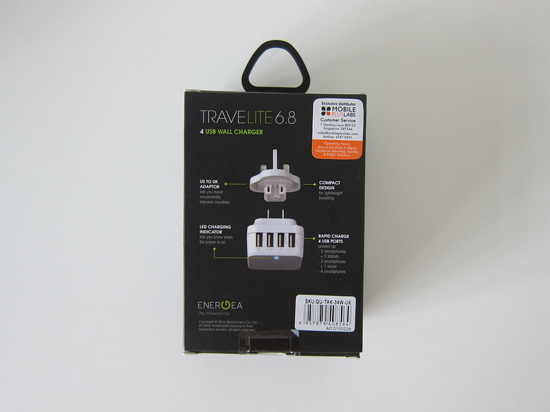 Energea Travelite 34W 5V/6.8A 4-Port Wall Charger - Box Back