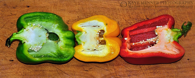Peppers in a Row by Kaye Menner
