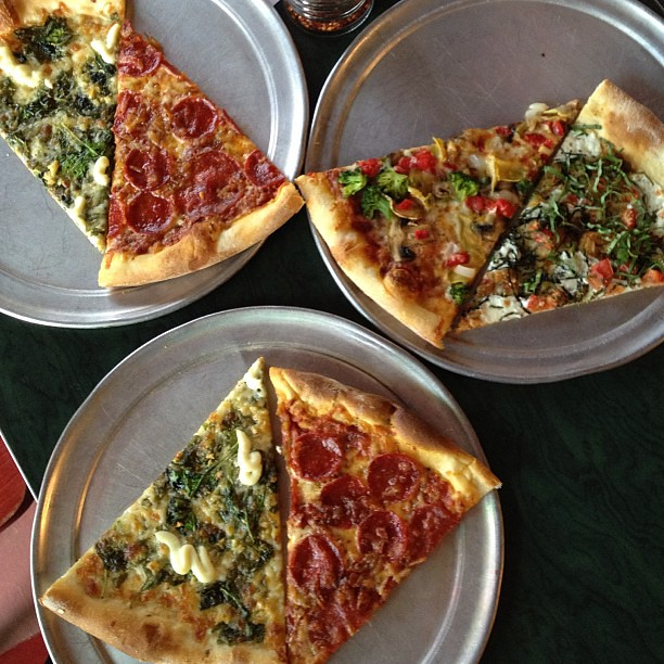 Pizza at 360 Pizza - The Popeye was awesome! Crunchy thin crust. #pizzabustouratx #googlepizzaatx