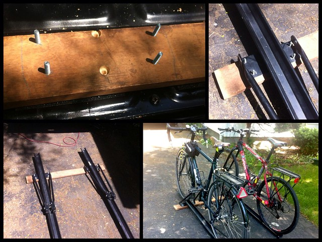 Truck bed bike rack construction