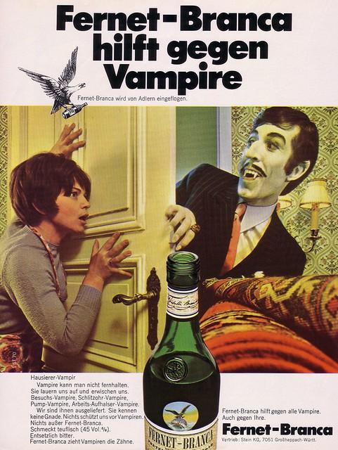 Fernet-Branca (1970) hilft gegen Vampire [abgebildet: Der Hausierer-Vampir]