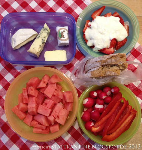 Stattkantine 7. Mai 2013 - Käse-Variation, Wassermelone, Erdbeeren mit Joghurt