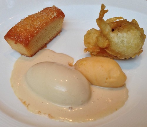 Almond Brown Butter Cake. Milk Confiture & Apricot Sorbet with Caramelised White Chocolate Ice Cream & Black Cherry Beignet.