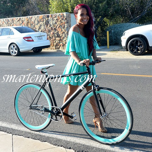 sexy ass christina milian walking with a bike