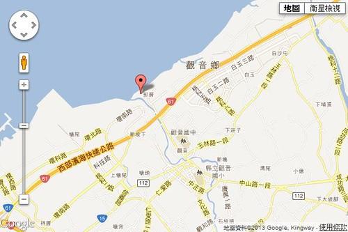 觀新藻礁地點。圖片來源:Google Map