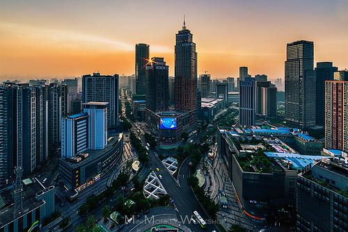 china city sunset skyline skyscraper chongqing d800 重庆 14mm samyang 南坪 宏声广场
