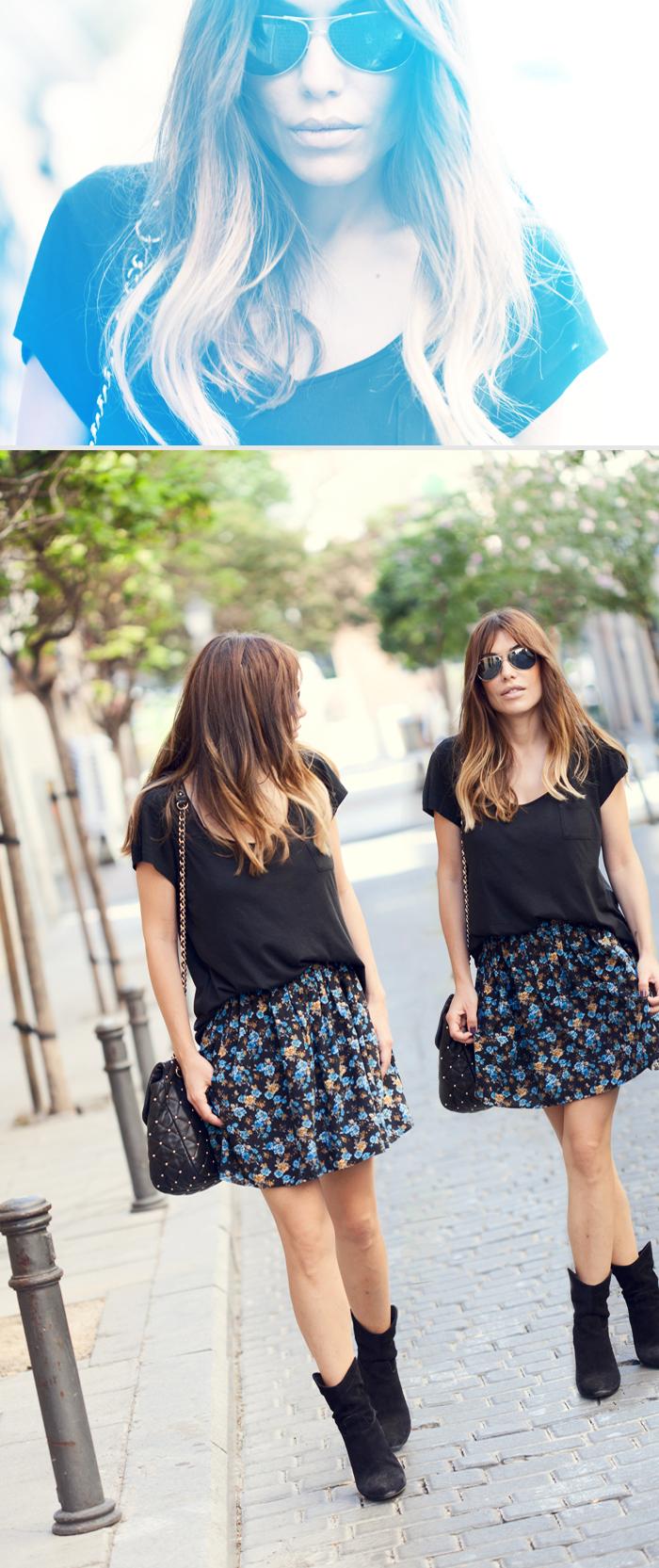street style barbara crespo mango flowered skirt malasaña madrid outfit