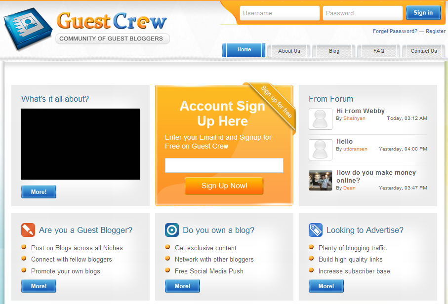 Guest Crew is one of the latest blogging communities for blogger
