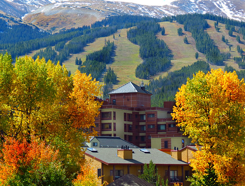 breckenridge colorado rockymountains skislopes autumn color fall colors leaves trees branches efterår φθινόπωρο herfst lautomne elotoño outono 秋 sonbahar sandraleidholdt foliage usa america american coloresotoñales us fallcolours summitcounty mountaintowns mountainside building tree architecture