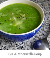 Pea & Mozzarella Soup