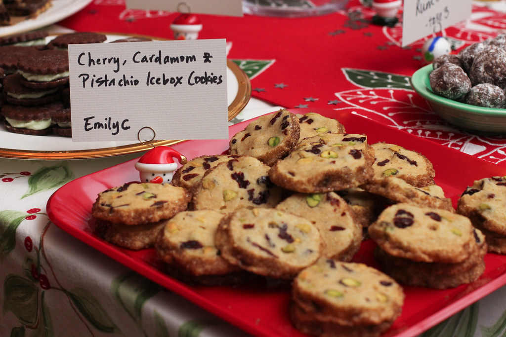 Cherry, Cardmamom and Pistachio Icebox Cookies