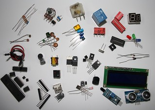 A pixel of electronic components