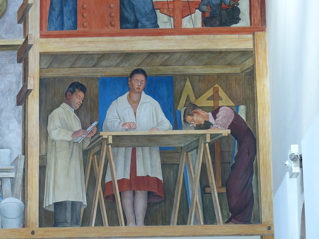 Making of a fresco showing the building of a city mural by for Diego rivera mural san francisco art institute