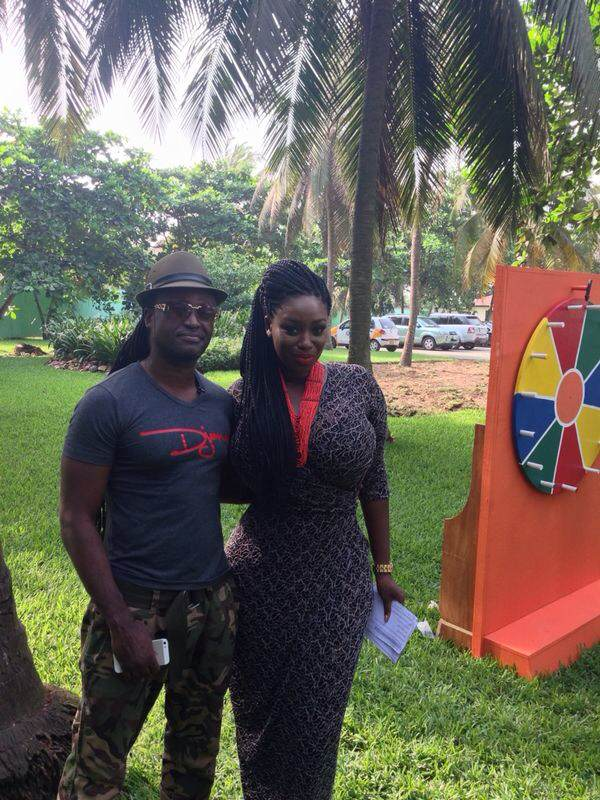 Reggie Rockstone on set with stunning Peace Hyde on the EFGH Show