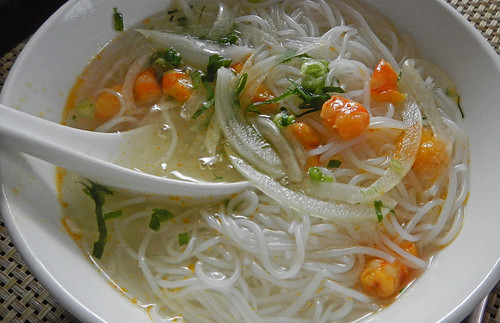 Shrimp Noodle Soup for our Vietnamese Brunch while Cruising Halong Bay
