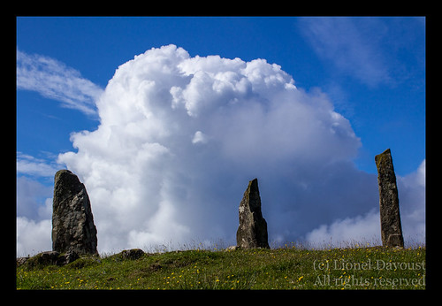 Cloud and raised stones