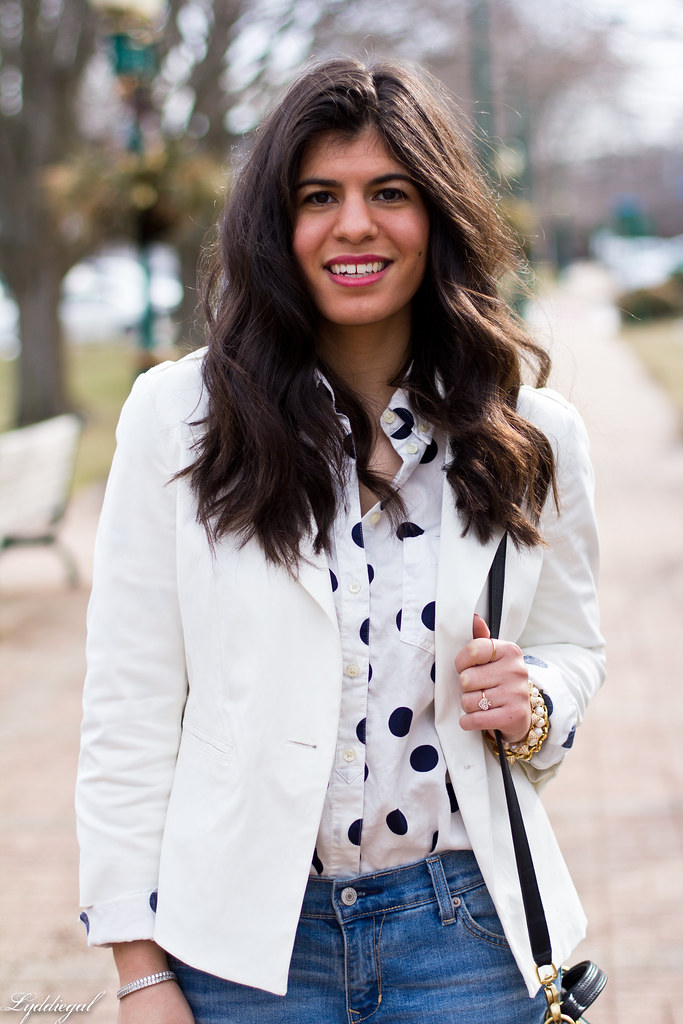 polka dot shirt, white blazer, boyfriend denim-2.jpg